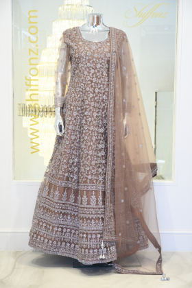 Embroidered brown long dress