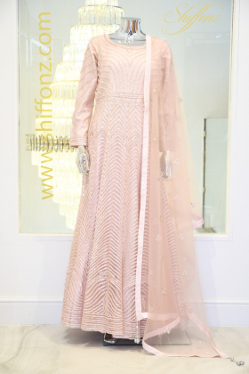 Light pink embroidered long dress