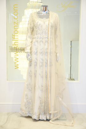 Cream Luxury embroidered maxi dress
