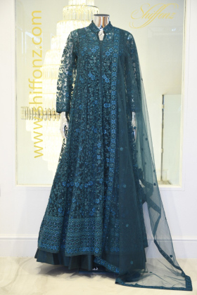 Long Jacket style turquoise heavy embroidered dress