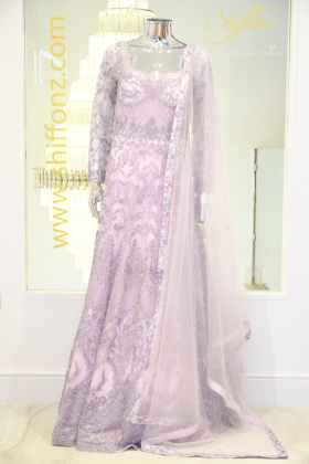 Long heavy light purple embroidered dress