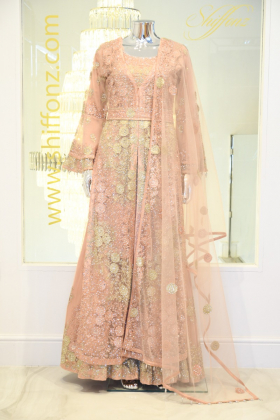 Long luxury embroidered peach lengha suit