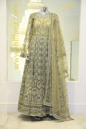Light green luxury embroidered long dress