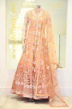 Long jacket frock style peach dress