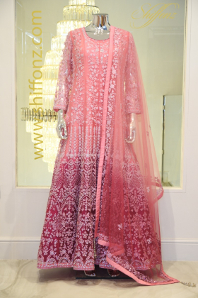 Luxury embroidered long pink dress