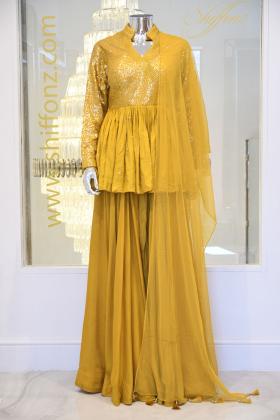 Mustard peplum style 3 piece lengha suit