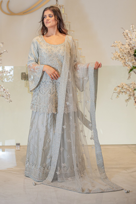 3 Piece net luxury embroidered lengha suit in silver