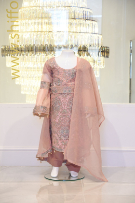 Kids dusty pink long maxi embroidered outfit