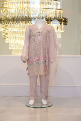 3 piece kids floral embroidered outfit