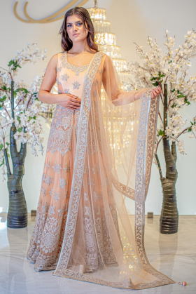3 Piece peach luxury embroidered gown