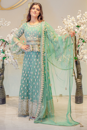 3 Piece luxury embroidered net lengha suit in mint