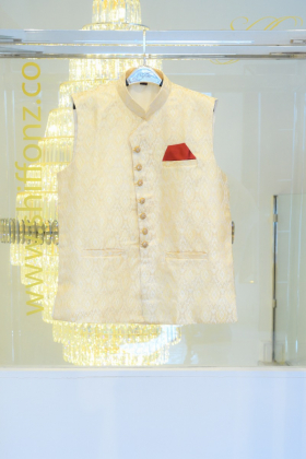 Cream banarsi waistcoat