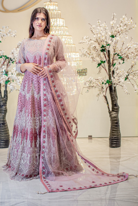 Beautiful luxury embroidered pink long gown