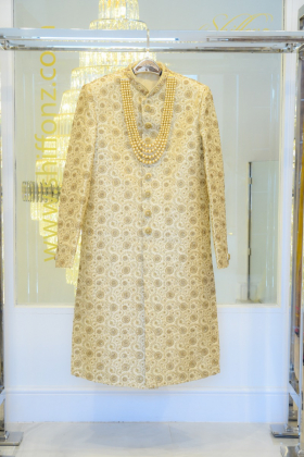 Mens gold sherwani