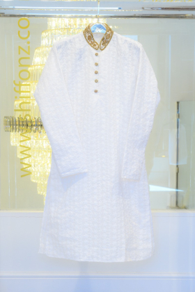 White mens chicken suit with gold embroidered collar