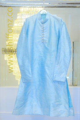 Sky blue silk mens shirt with silver button with churidar trousers