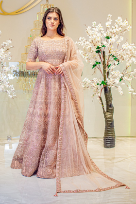 Beautiful 3 piece luxury embroidered net dusty pink gown