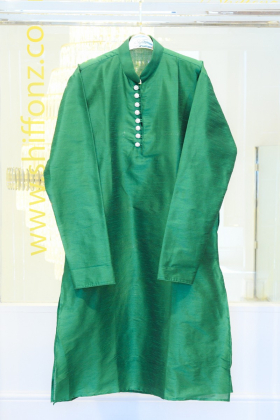 Green mens silk shirt with buttons and churidar trousers