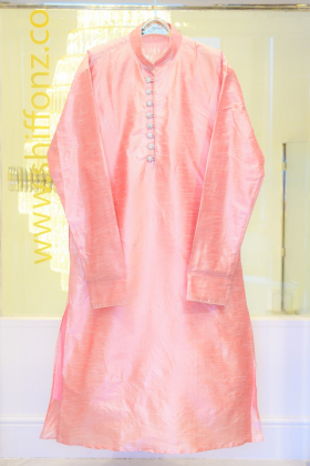 Pink silk mens shirt with silver buttons with churidar trousers