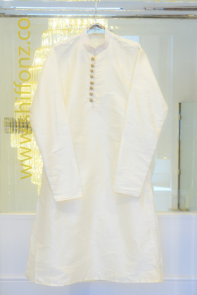 Off white silk mens shirt with silver buttons and churidar trousers