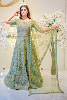 Beautiful 3 piece luxury embroidered net mint gown