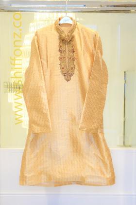 Gold banarsi mens suit