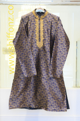 Dark blue banarsi mens suit