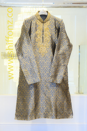 Banarsi grey mens suit