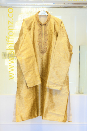 Banarsi gold maroon mens suit