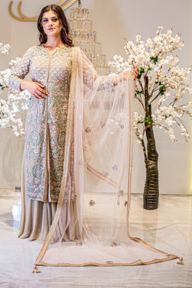 Beautiful 3 piece beige luxury embroidered sharara suit
