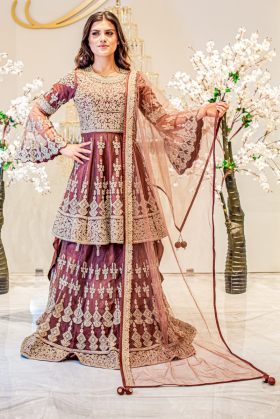 3 Piece dark brown net embroidered lengha suit
