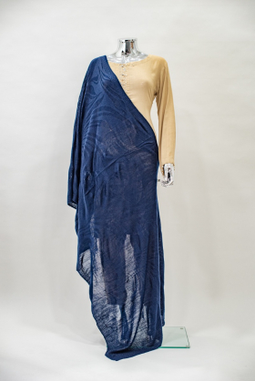 Light weight wool knitted shawl in navy