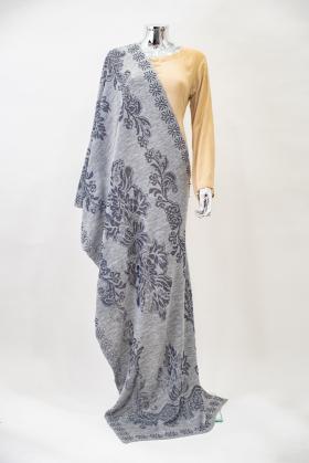 Grey and navy wool shawl