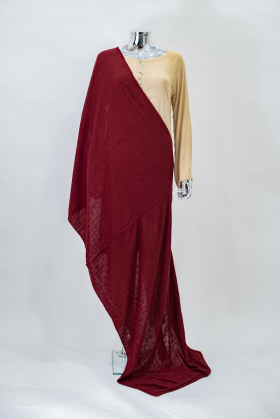 Knitted wool shawl in red