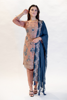 3 Piece chiffon embroidered suit in brown