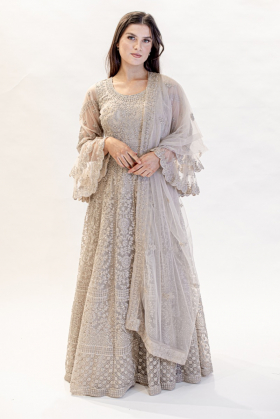 Luxury embroidered light beige long dress
