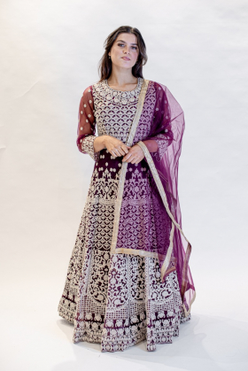 Plum luxury embroidered long gown