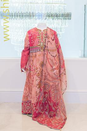 IVANA 3 Piece kids lawn pink frock style suit