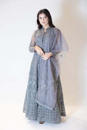 3 Piece embroidered long dress in grey