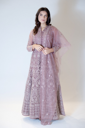 3 Piece dusty pink embroidered long gown