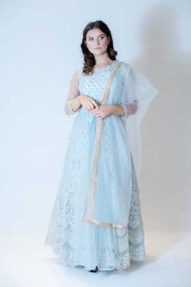 Beautiful luxury embroidered long gown in pale turquoise