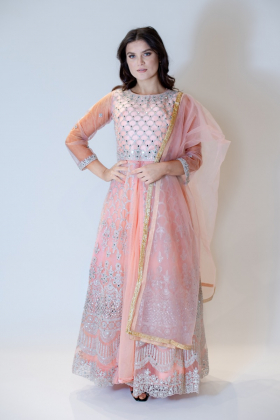 Beautiful luxury embroidered long gown in peach
