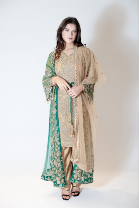 3 Piece luxury embroidered jacket style suit in green
