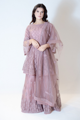 3 Piece dusty pink embroidered net lengha suit