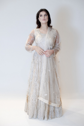 3 Piece beautifully embroidered gown in cream