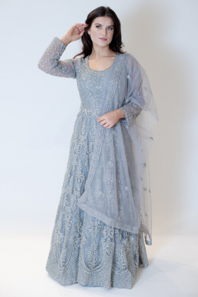 3 Piece beautifully embroidered gown in grey
