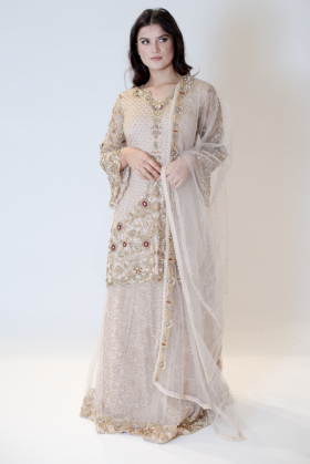 Beautiful 3 piece luxury embroidered lengha suit in beige