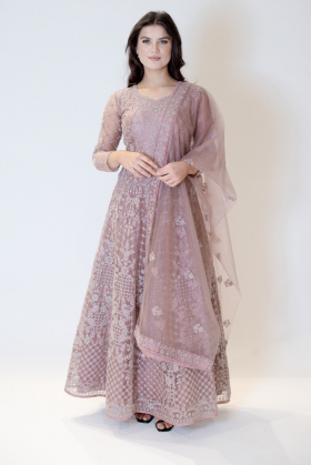 3 Piece long embroidered gown in dusty pink