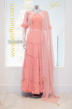 3 Piece pink jacket style maxi dress