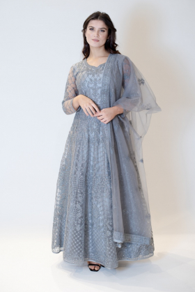 3 Piece long embroidered gown in grey